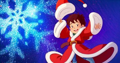 Le jeune Nicolas en habit du Père Noël