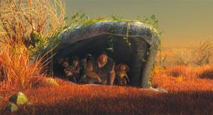 Les Croods dans leur caverne
