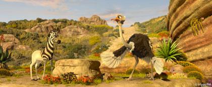 Khumba et son amie l'autruche