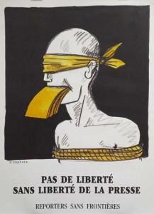 Dessin de Tom Hungerer en faveur de la liberté de la presse