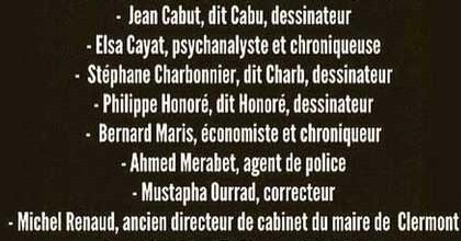 La liste des victime de l'attentat contre Charlie Hebdo