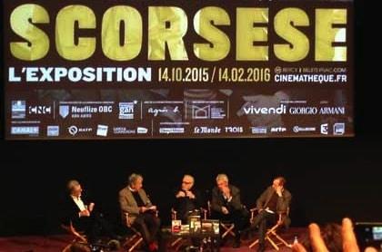 Serge Toubiana, Caosta-Gavras, Martin Scorsese, son interprète et le directeur de la Deutsche Kinemathek de Berlin