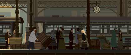 Sacha à la gare dans Tout en haut du monde de Rémi Chayé