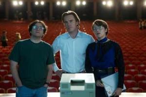 Steve Woz Wozniak (Seth Rogen), Steve Jobs (Michael Fassbender) et Joanna Hoffman (Kate Winslet)